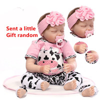 NPK Reborn Baby Doll Silicone Limbs Cotton Body Simulate Real Baby Sleeping Pink Angel Reborn Toddler Doll Toy For Children #ED