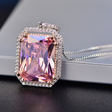 Romantic Wedding Jewelry 925 Sterling Silver Womens Necklaces Pendatns Rectangle Pink Quartz Necklace Engagement Party Gifts