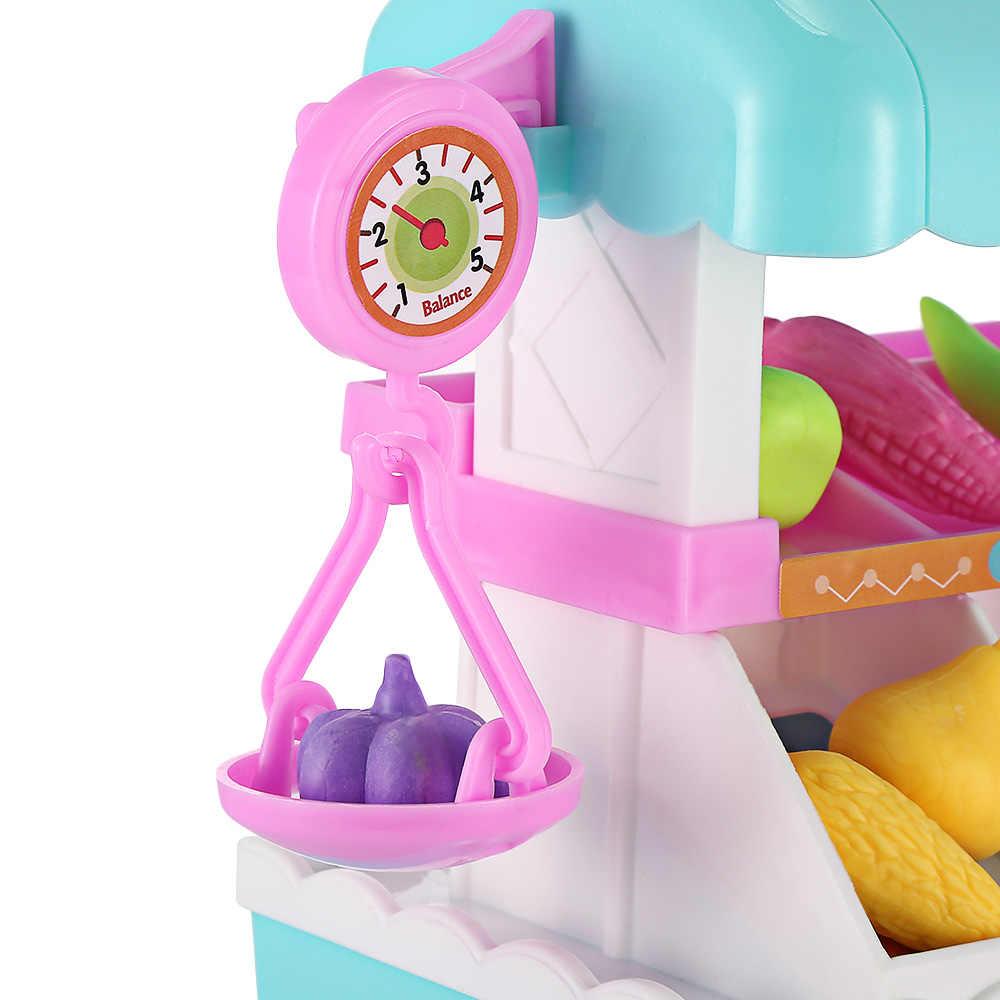 New Arrival Kids Household Playset Music Light Simulation Vegetables Shopping Cart Household Pretend Playset Kids Model Toys