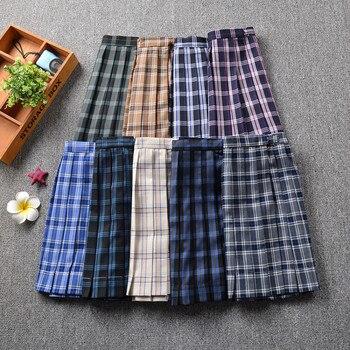 2019 New Style Plaid Uniform Pleated Skirt Orthodox JK Uniform Skirt Student High Waist Plaid Japanese Pleated Skirt box pleated skirt
