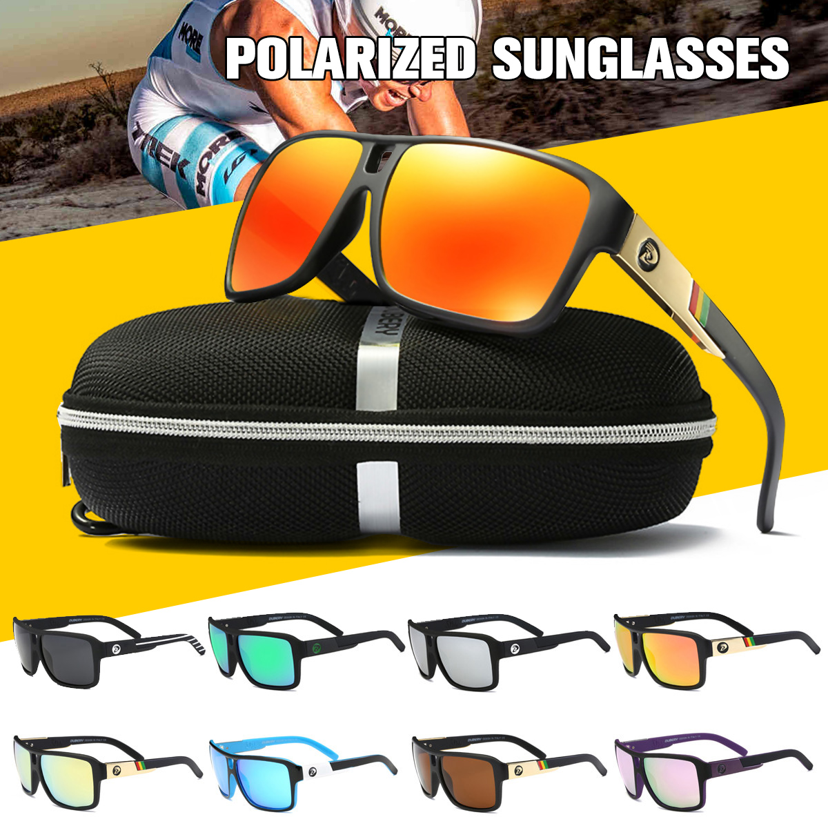 Polarized Sunglasses Square Cycling Sport Driving Men Women Fishing Sun Glasses Traveling Anti-Glare Eyewear Father Gift w/ Box лента fit 11795