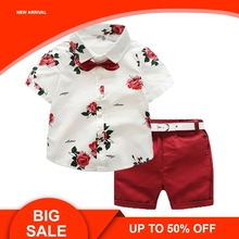 2019 Summer Toddler Boy Clothes Set Casual Flower Print Shirt Tops+Shorts Fashion Clothing Set flower print shorts