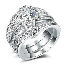Huitan Classic 3PC Wedding Ring Set with Round Brilliant Cubic Zircon Prong Setting Silver Plated Engagement Rings for Women