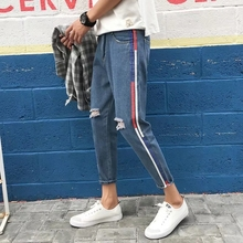 2019 Spring Striped Thin Holes Cowboy Leisure Pants Weave Bring Decoration Tide Male Self-cultivation Slim Fit Men Jeans S-2XL girls jeans small pants 2018 new children s korean version self cultivation fashion broken holes pencil pants