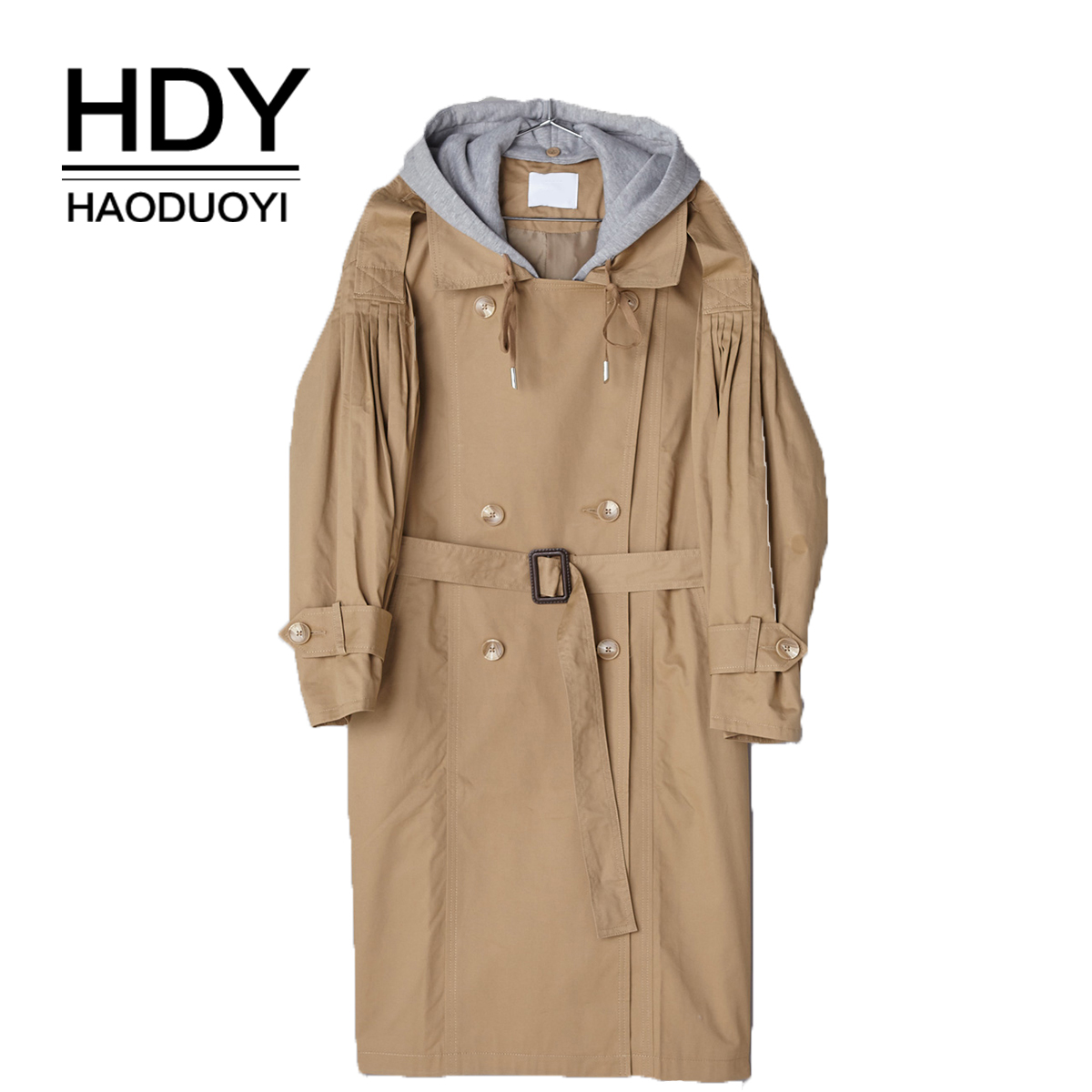 HDY Haoduoyi Pleated double-breasted loose lapel knit hooded   trench   coat