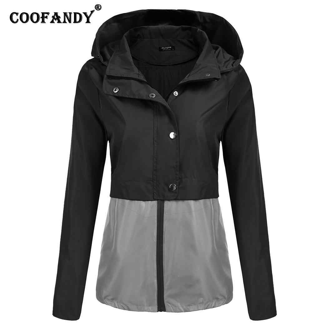 e5e67e968 ... Color Patchwork Pocket Waterproof and Raincoat Jacket Lightweight Rain  Contrast Hooded Outdoor Women's Snap Zip Button ...