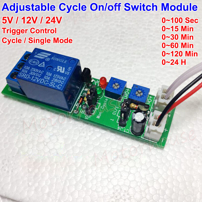 DYKB DC 5V 12V 24V Adjustable Time Trigger Unlimited Cycle Timer Delay Turn On OFF Relay Switch Module Time Control