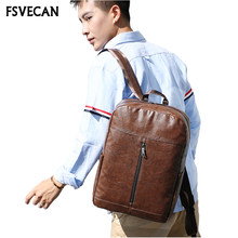 Fashion Men Backpack Laptop 15.6Inch Leather Anti Theft Waterproof Travel Backpack Brown School Backpacks For Male Women 2018(China)