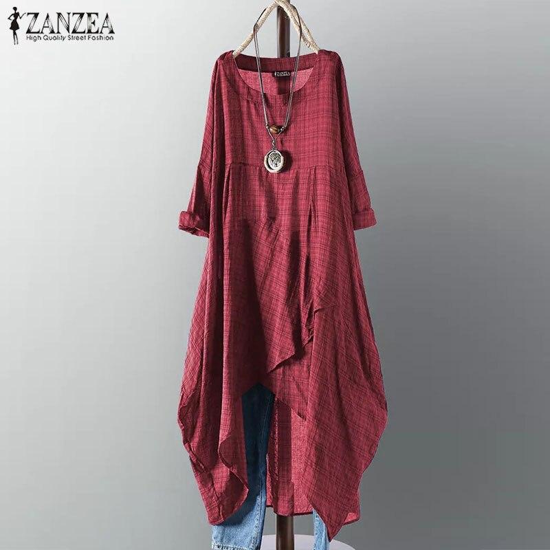 Женское платье-рубашка ZANZEA, повседневное винтажное длинное платье в клеточку с длинным рукавом, 2019