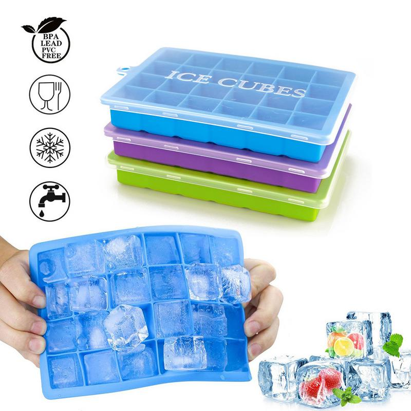 24 Grid Silicone Ice Cube Tray Ice Cube Mold Ice Maker Box With Lid Candy Cake Pudding Chocolate Molds Containers Cube Grid Mold