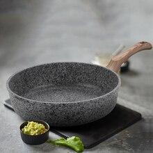 Multi-Purpose Steak Wooden Handle Non-stick Cooker Thickening Pancake Pan Frying Medical Stone