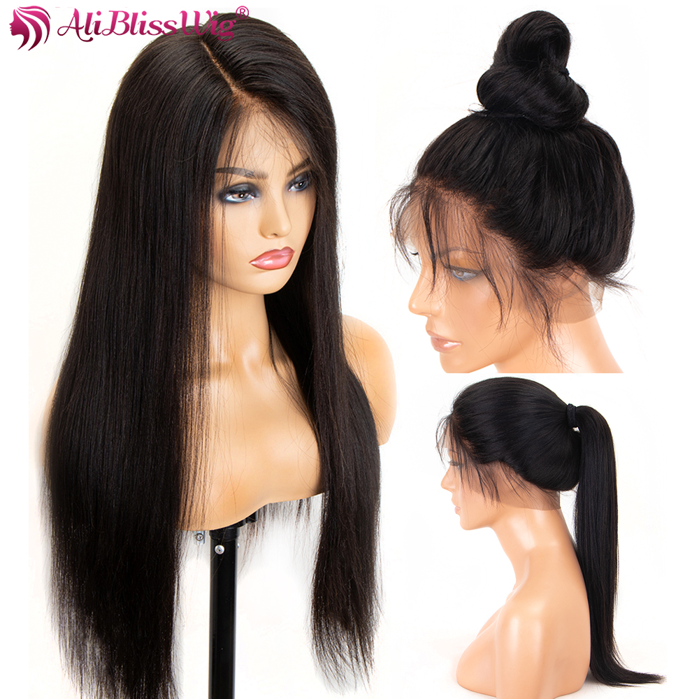 WIG Lace-Frontal Human-Hair BLISS Pre-Plucked Black Straight Women 360 with for ALI 13x6