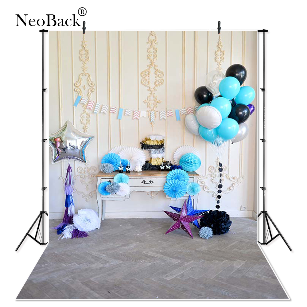 Baby 1st Birthday Party Photo Backdrop Printed Blue White