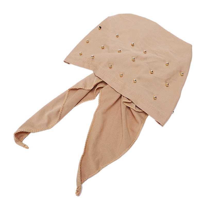 Donne musulmane Hijab Abaya Cancro Chemio Cappello Cappuccio Interno Perle di Perdita di Capelli Testa Sciarpa Turbante Testa Wrap Cap Islamico Lungo coda Bandana