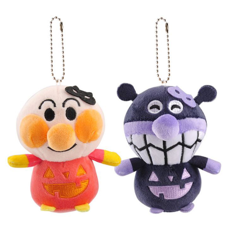 1 Pc Cute Halloween Pumpkin Anpanman Plush Pendant Bread Superman Bacteria Baikinman Plush Toy Doll Bag Pendant for Kids Gift image