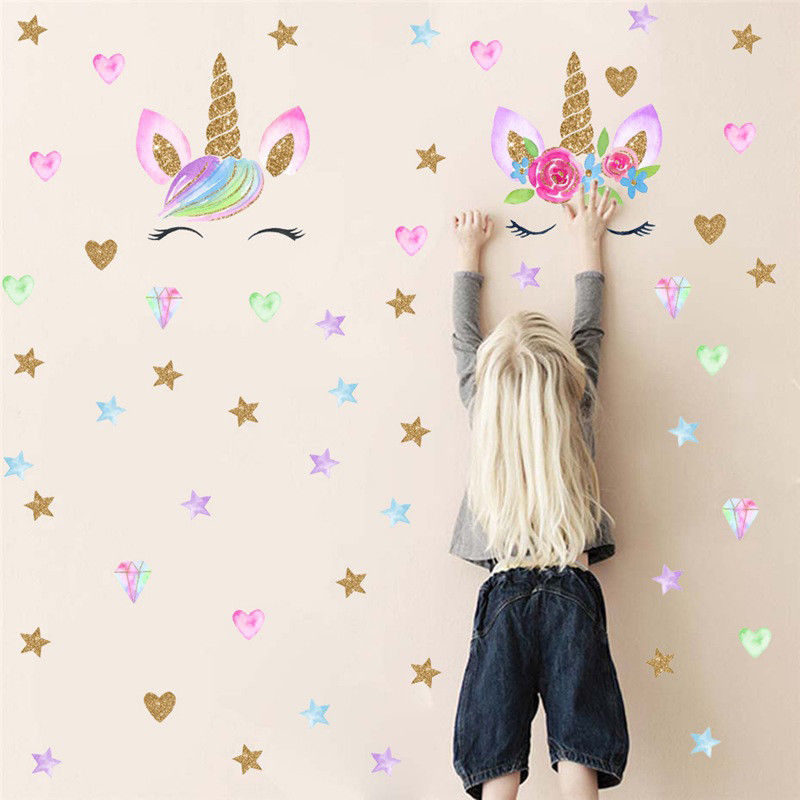 Cute Unicorn & Bling Stars Wall Decal Wall Sticker Wallpaper Art Stickers Vinyl Home Room Wall Decoration