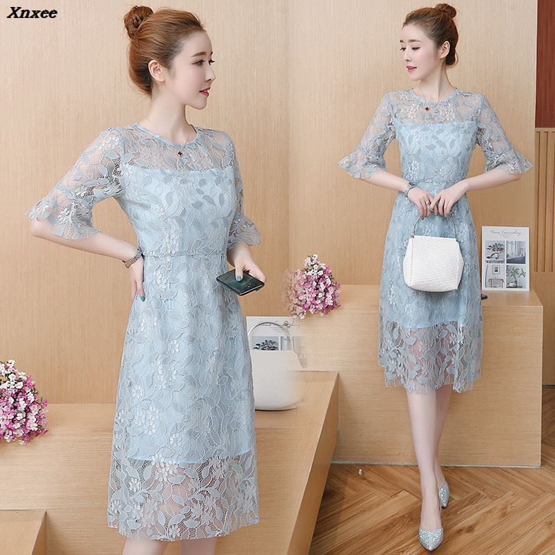 2018 New Sexy Lace Party Dress Women Elegant Hollow Out Slim A Line Dresses Casual O neck Dress vestidos Robes Plus Size Xnxee in Dresses from Women 39 s Clothing