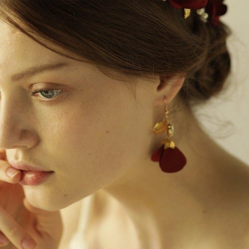 Red Burnt Edge Flower Bridal Earrings Vintage Style Wedding Hair Accessories High Quality Handmade Hair Ornaments Drop Earrings Aliexpress