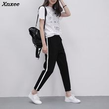 Fashion women striped harem pants black casual high waist drawstring loose trousers Xnxee