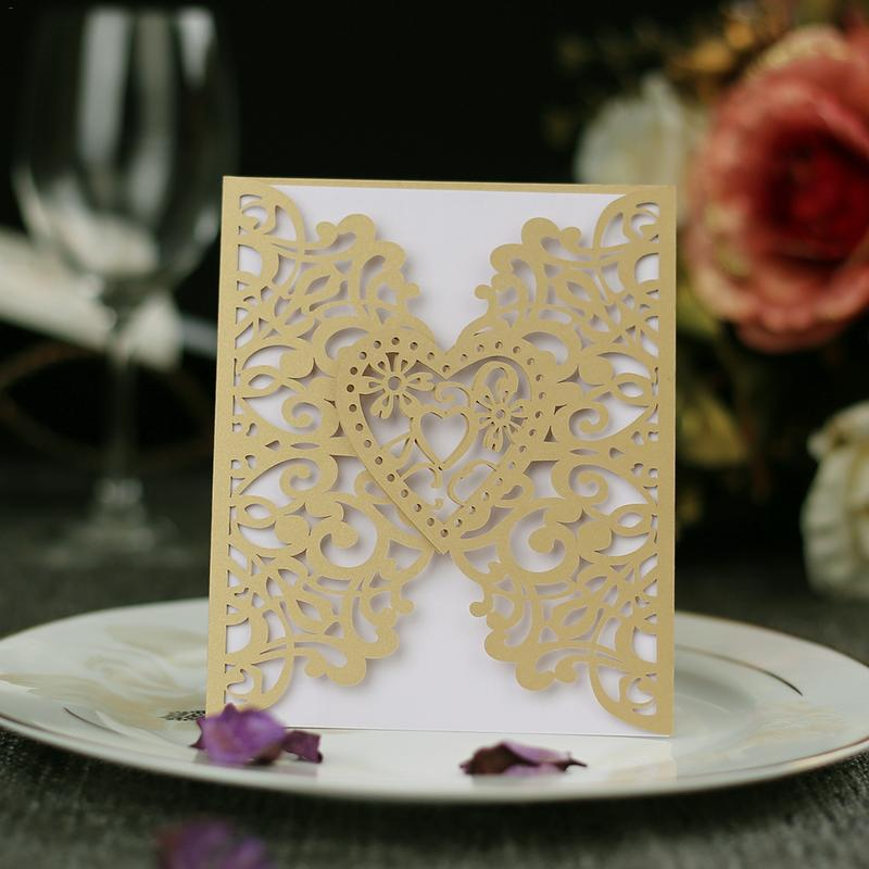 10PCS set European Style Hollow out Wedding Personalized Invitations Innovative Card Birthday Card high quality in Wedding Card Boxes from Home Garden