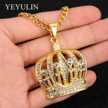 Bling Gold Hip Hop King Crown Pendants Necklace