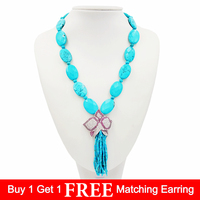 LiiJi Unique Natural Blue Turquoises 18x25mm Crystal Flower Pendant 2mm Round Beads Tassels Nice Gift for Women 50cm/20''
