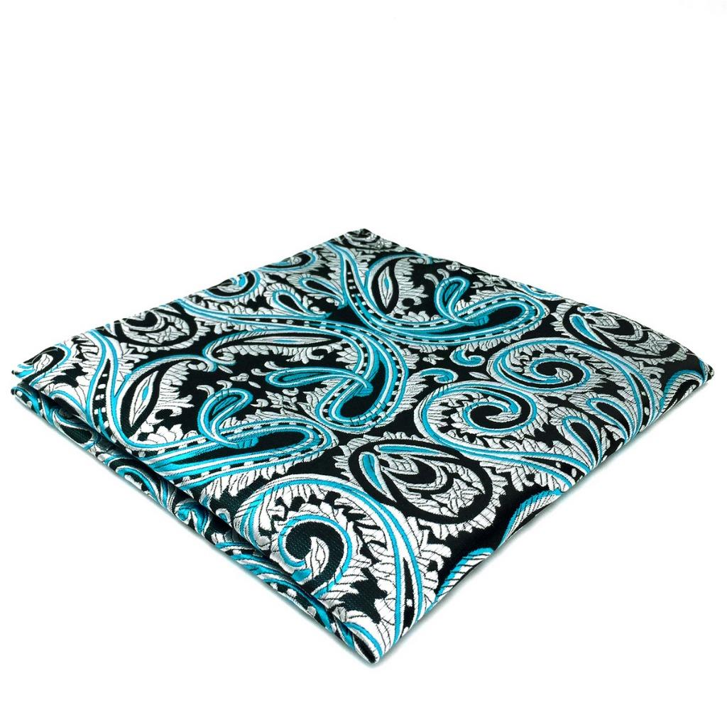 DH07 Mens Pocket Square Blue Silver Paisley Silk Wedding Hanky Fashion Handkerchief Novelty