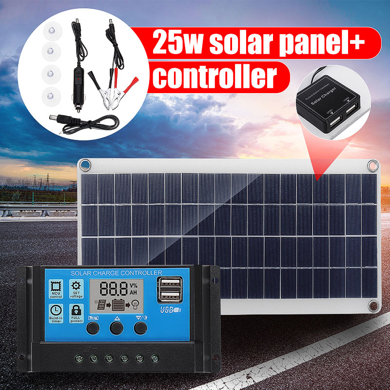 25W 12V Dual USB Solar Panel with Car Charger + 10/20/30/40A USB Solar Charger Controller for Outdoor Camping LED Light25W 12V Dual USB Solar Panel with Car Charger + 10/20/30/40A USB Solar Charger Controller for Outdoor Camping LED Light
