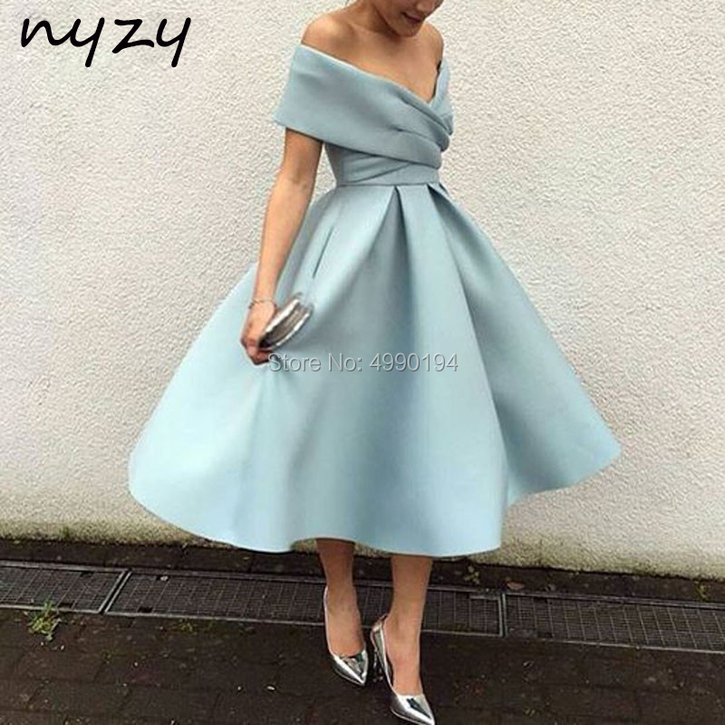 NYZY C34 Satin   Cocktail     Dresses   Ball Gown Off Shoulder Tea Length Wedding Party   Dress   Graduation Evening Gown Sky Blue Burgundy