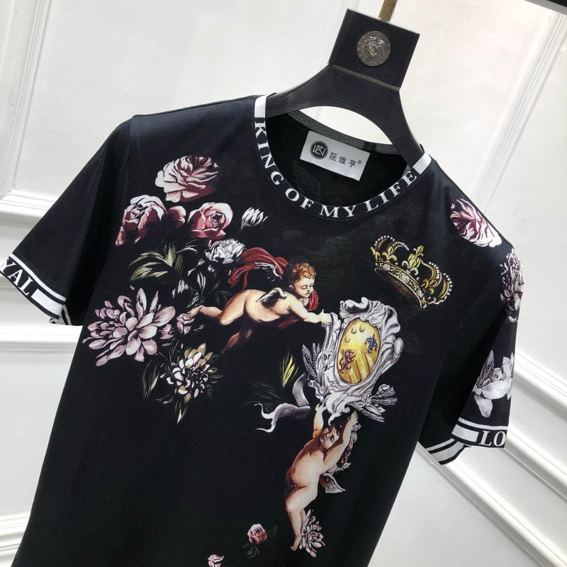 2019 Весна 19ss новые модные футболки Ангел цветок цветочные Корона печать футболка для мужчин хлопок известный бренд одежда Топ Ретро - 2