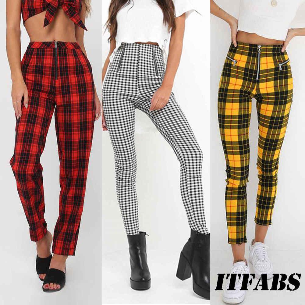 2018 Gaya Baru Kotak-kotak Pinggang Tinggi Celana Wanita Skinny Jeans Ritsleting Celana Wanita Fashion Denim Elastis Pensil Celana Plus Ukuran s-2XL