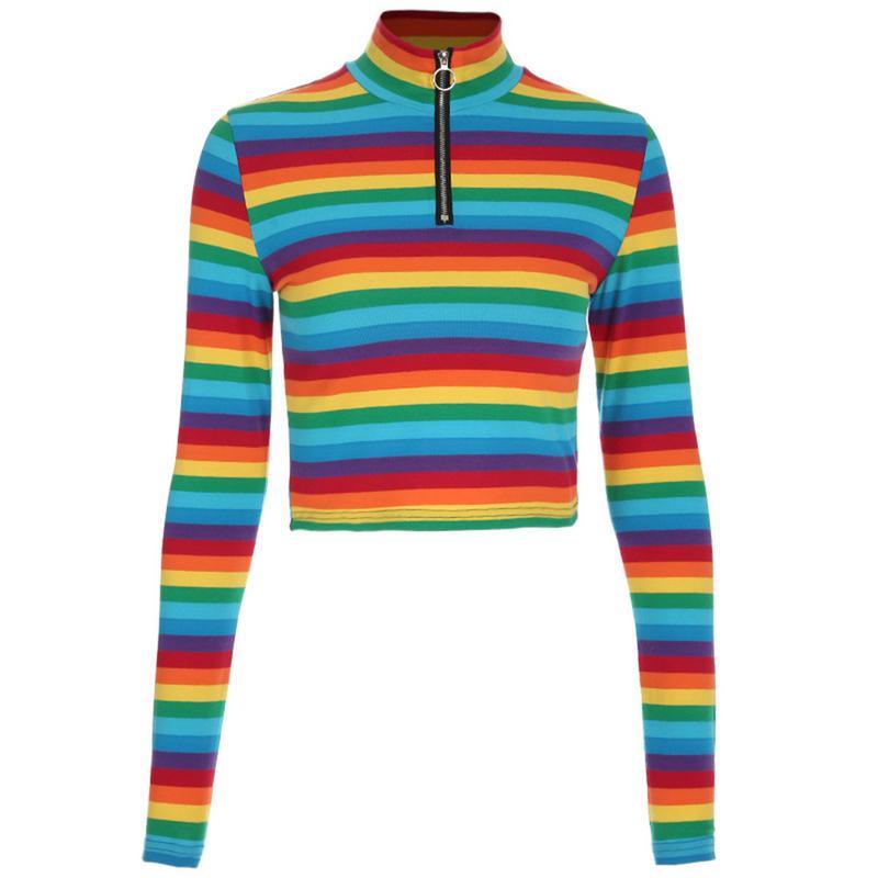 Trendy Women's Fashion Rainbow Color Stripe Splicing Zipper Slim Short-sleeved Sweater