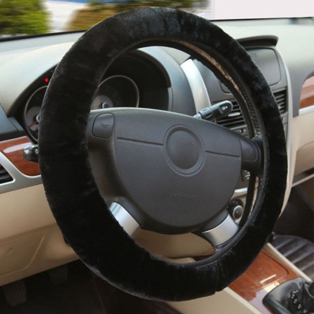 Hirigin Universal Warm Plush Steering Wheel Cover Furry Fluffy Soft Plush Car Wheel