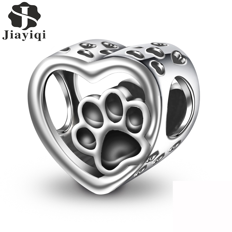 Jiayiqi 2019 Fashion  Silver 925 Jewelry Sterling Silver Animal Footprints Beads Fit Charm Bracelet Necklace For Women DIY|Beads|   - AliExpress