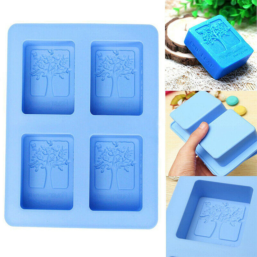 1pcs Creative Tree Pattern Rectangle Silicone Soap Mold 4 Hole Crafts Handmade Soap Molds Random Color