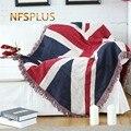 Диван пледы одеяло 130x180 см смешивания ткани флаг США Великобритания геометрический узор трикотажная кровать распространение диван покрыва...