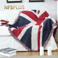 Покрывало для дивана 130x180 см, смешивание ткани, флаг США Великобритания, геометрический узор, вязаное покрывало для кровати, покрывало