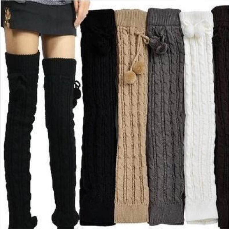 2018 New Fashion Casual Women Warm Winter Knitted Leg Warmers Knitted Socks Crochet Long Boots Socks With Hairball
