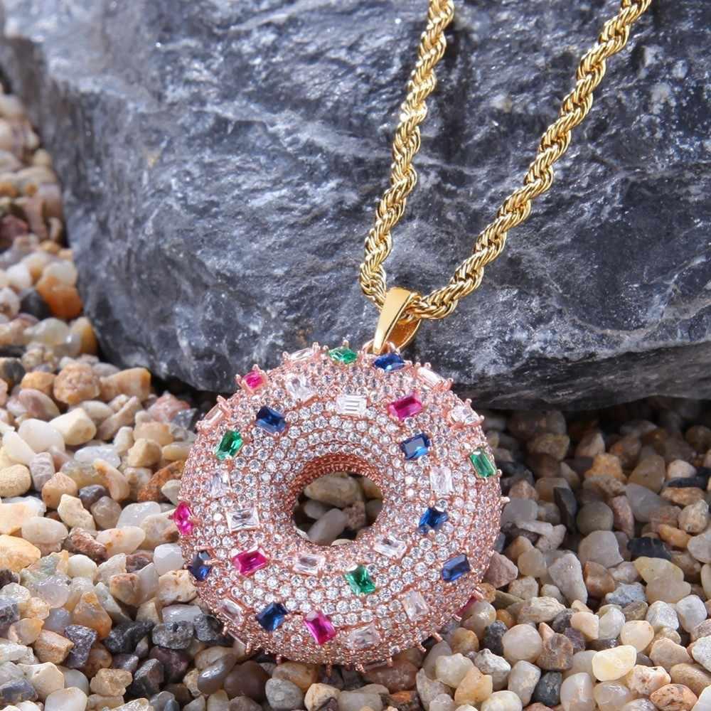 UWIN dwustronny śliczny pączek kształt wisiorek naszyjniki moda różowe złoto kolor pełna Iced kolorowe cyrkonia Hiphop biżuteria