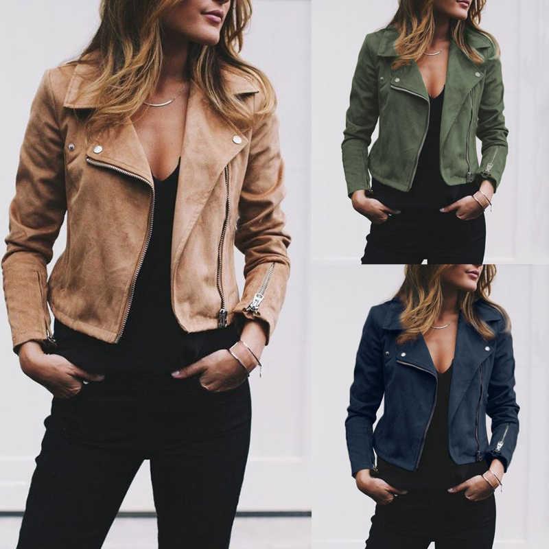 1edb27214ad Hot Fashion Women s Zipper Tunic Army Jacket Coats Casual Ladies Autumn Leather  Jackets Zip Up Biker