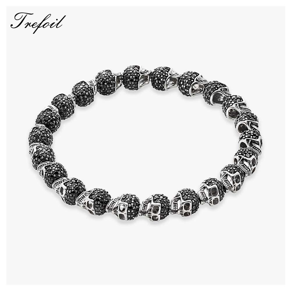 Bracelet Strand Beaded with Skull Beads, 2018 New Blackened Silver Homme Fashion Jewelry Punk Gift for Men Boy Women Girls