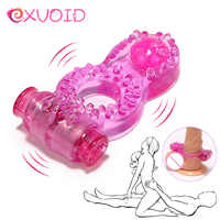 EXVOID Butterfly Penis Vibrator Ring Delay Ejacualtion Clitoris Stimulate Elastic Silicone Sex Toys for Men Cock Vibrating Ring
