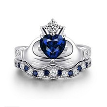 Sliver S925 Fashion Sapphire Rings for Women Blue Amethyst Crystal Diamante Bizuteria Gemstone Crown Shape Diamont Ring