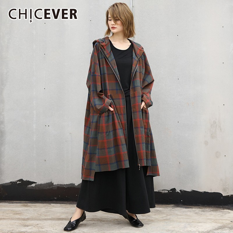 CHICEVER Plaid   Trench   Coat For Women's Windbreaker Hooded Batwing Long Sleeve Loose Oversize Autumn Fashion Clothing Tide 2018