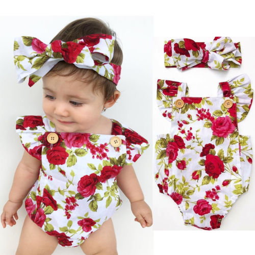 2019 Floral Newborn Baby Girl Clothes Ruffles Sleeve Romper +Headband 2pcs Outfit Sunsuit 0-24M