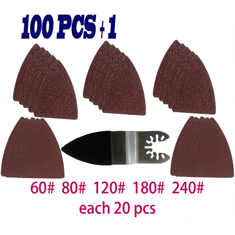 100pcs Oscillating Multitool Finger Sanding Sheets Pads Paper Set 60-240 # Grits