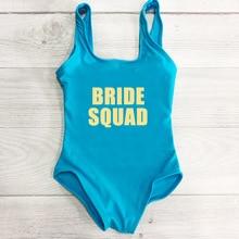 Kids One Piece Swimsuit New Letter BRIDE SQUAD Swimwear Girls Swim Suit Children Bathing Suit Summer Beach Wear maillot de bain