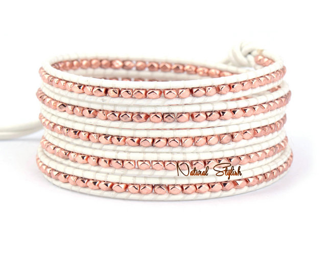 Exquisite 5 Strands Rose Gold Beads White Leather Wrap Bracelet Whole Bead Bohemian
