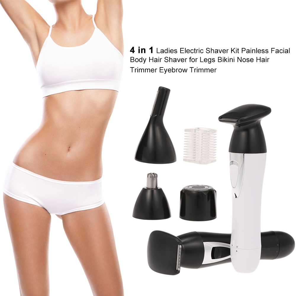 4 in 1 Ladies Electric Shaver Kit USB Rechargeable Painless Facial Body Hair Shaver for Legs Bikini Nose Hair Trimmer