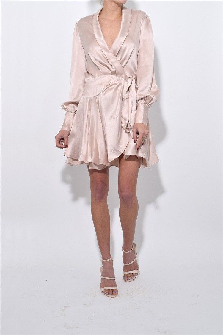 Mélanges robe à lacets court élégant ceinture haute qualité été australie femmes v-cou lanterne manches perles manches vacances robe